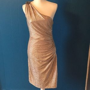 Maggy London Gold One Shoulder Jeweled Dress sz 8